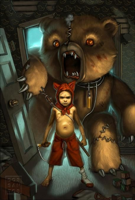 I like this image, it is almost like a dark take on Calvin and Hobbes.  I do feel that the illustration could use more detail in the form of textures though.  The fur on the bear has good form but it is largely lacking detail.  Where the detail is present it looks too stringy and thin.  The same goes for the carpet that they're standing on, it seems to be lacking most detail or consideration.  I think thought was put into all the details but it just wasn't completely executed.