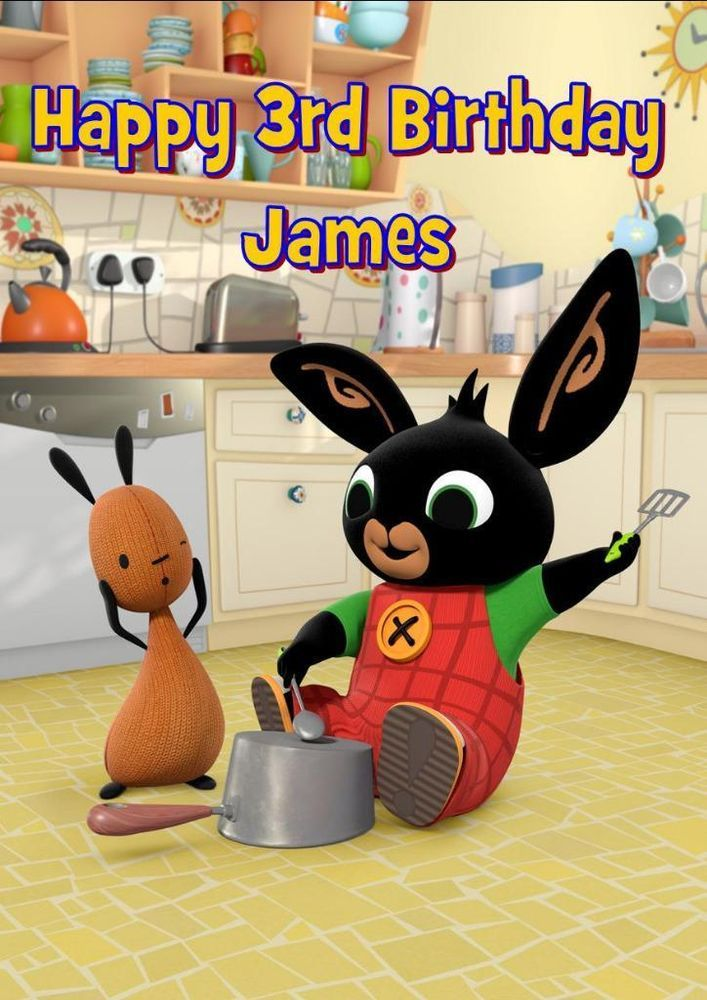 BING BUNNY PERSONALISED A5 BIRTHDAY CARD with COLOURING PICTURE