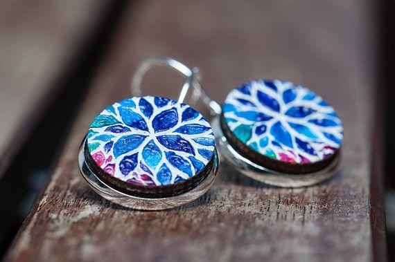 Flower earrings painted wood earrings boho jewelry tribal