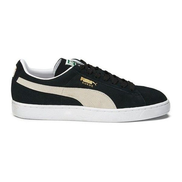 Puma Suede Classic + Trainers - Black/Team Gold/White ($79) ❤ liked on Polyvore featuring shoes, sneakers, puma sneakers, black gold sneakers, lace up sneakers, suede shoes and puma trainers
