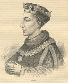 Henry V (1386 - 1422). Son of King Henry IV and Mary de Bohun. He married Katherine of Valois and had one son.