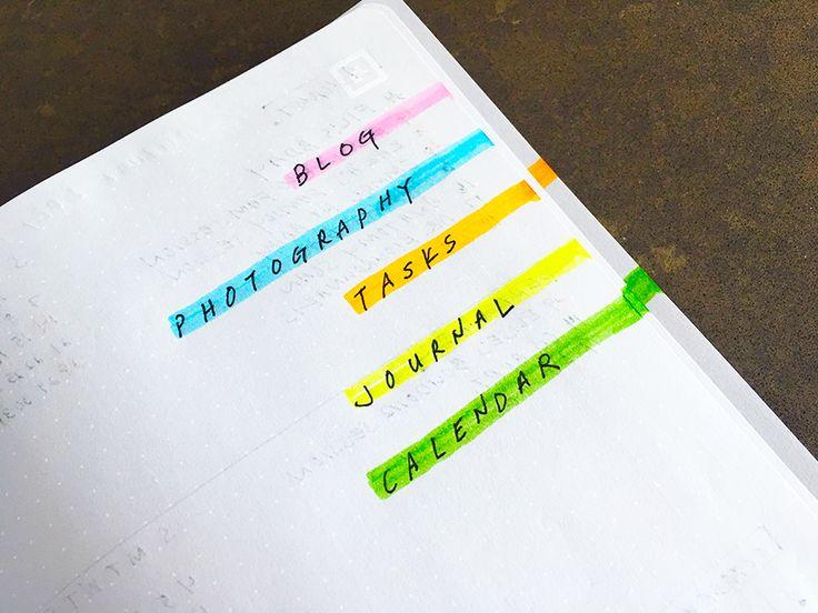 A füzet oldalára húzott színek szerint megtalálod a keresett tartalmat.  Bullet Journal | navigáció | zezil