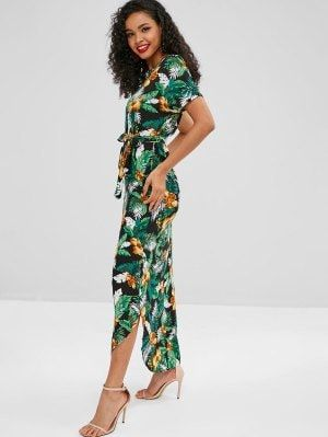0ab0c9855325 Floral Leaves Print Belted Maxi Dress in 2019 | Zaful Trendy Fashion |  Dresses, Boho summer dresses, White maxi dresses