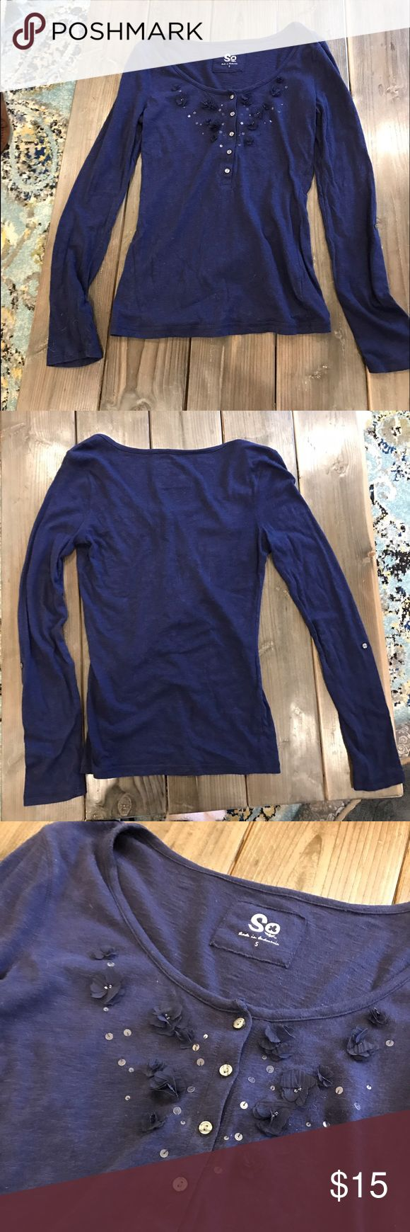 Navy long sleeve top with flower detail Navy long sleeve shirt with buttons and pretty flower detail. Size Small. So Tops Tees - Long Sleeve