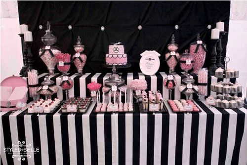 modern elegance pink black and white baby shower birthday party dessert table