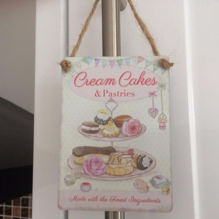 SHABBY COUNTRY CHIC CREAM CAKES AND PASTRIES PRETTY MINI METAL SIGN