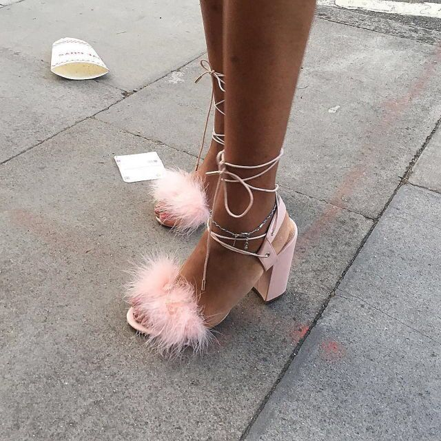 Furry fluffy pink strappy sandals with marabou detailing