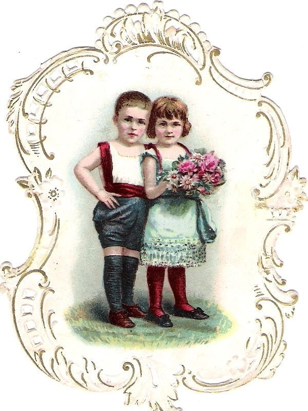 Oblaten Glanzbild scrap die cut chromo Kind child enfant couple paar Geschwister