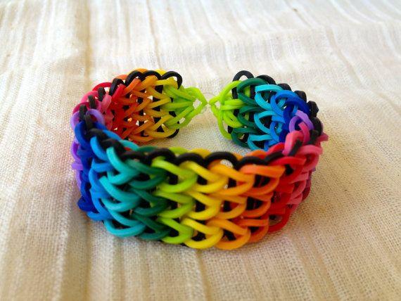 Rainbow Loom Bracelet Rubber Bands Multicolor And Black Diy Pinterest Bracelets