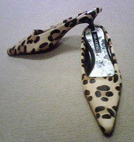 Leopard Calfhair Mules  Black Kitten Heel