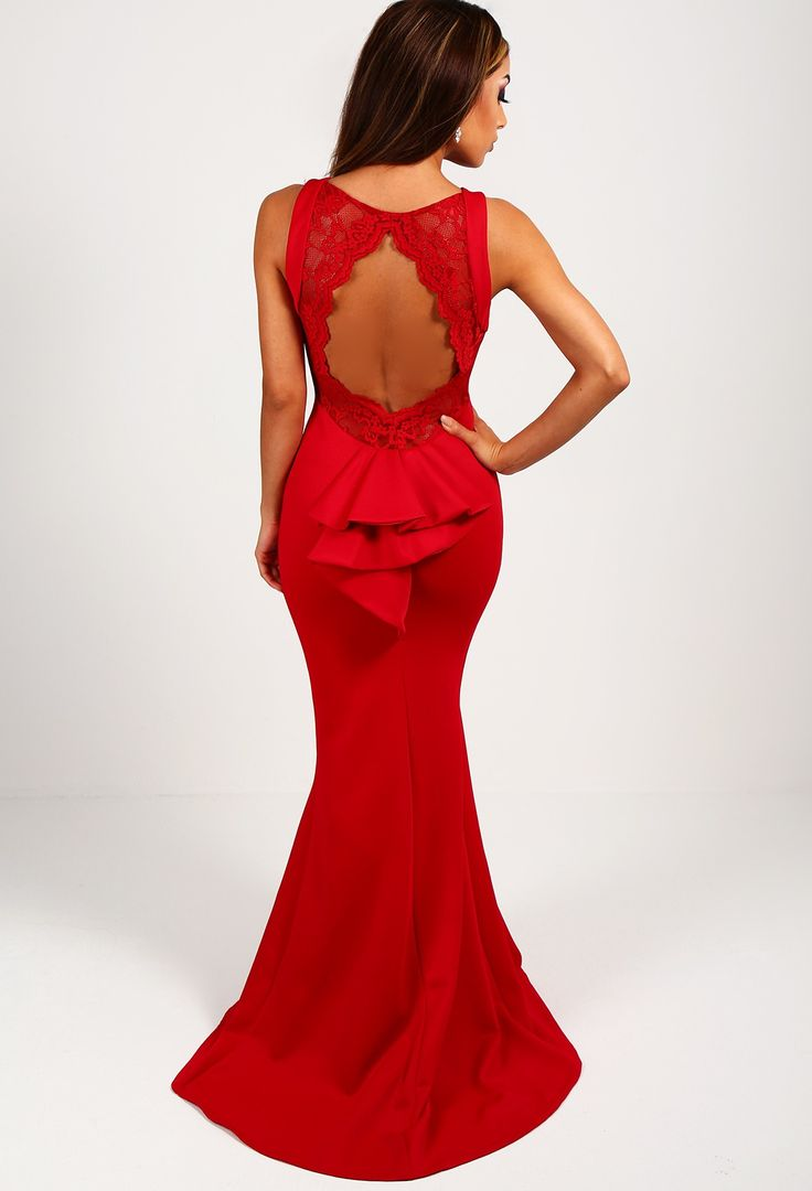 Elizabeth Red Lace Backless Maxi Dress