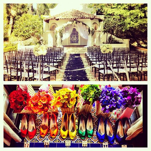 different colored shoes and bouquets for bridesmaids (maybe cardi's too) and simple dress, grey or navy or something...