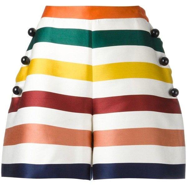 Carolina Herrera stripes shorts (£920) ❤ liked on Polyvore featuring shorts, carolina herrera, multi colored shorts, colorful shorts, stripe shorts and striped shorts