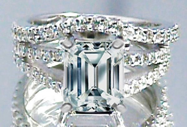 Emerald Cut Diamond Split Band Engagement Ring Beyonce's Choice