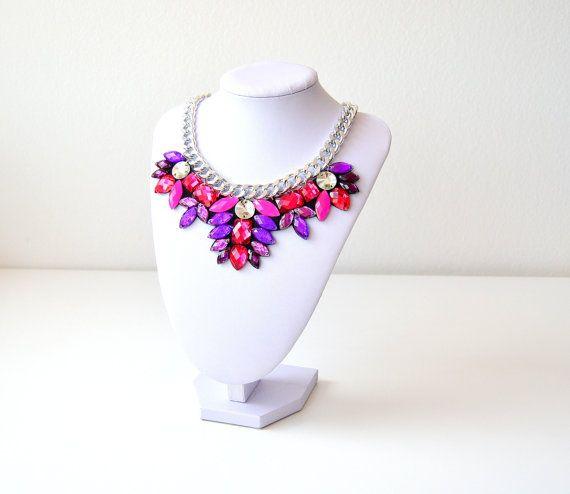 Silver Purple Pink Rhinestone Gem Crystal Statement by GemsOver