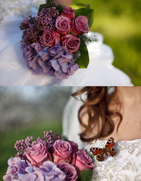 Hochzeit, Brautstrauß, Flieder, Hortensien, Rosen Mehr