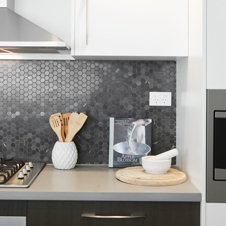 #kitchen #splashback #tiles #grey #utensils #cooking #mealtime
