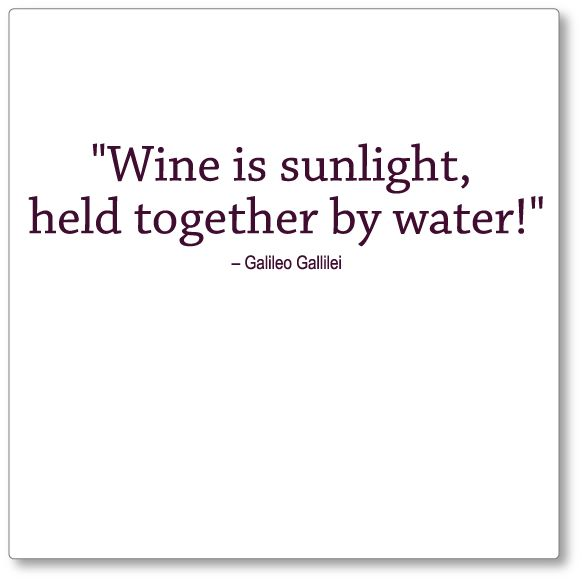 Wine is Sunlight... Maybe I should get this Galileo quote tattooed instead of the stars one... :P JK
