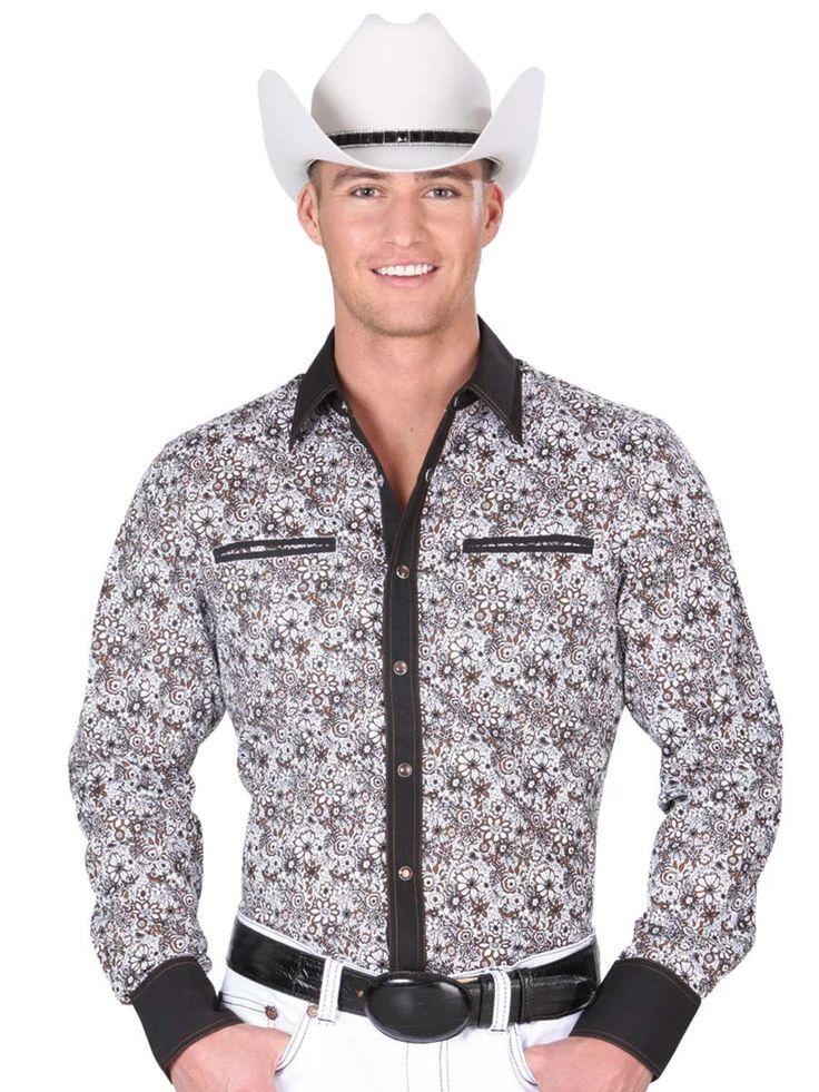 34233 Camisa Vaquera Manga Larga De Hombre 'El General', 100% Cotton - White