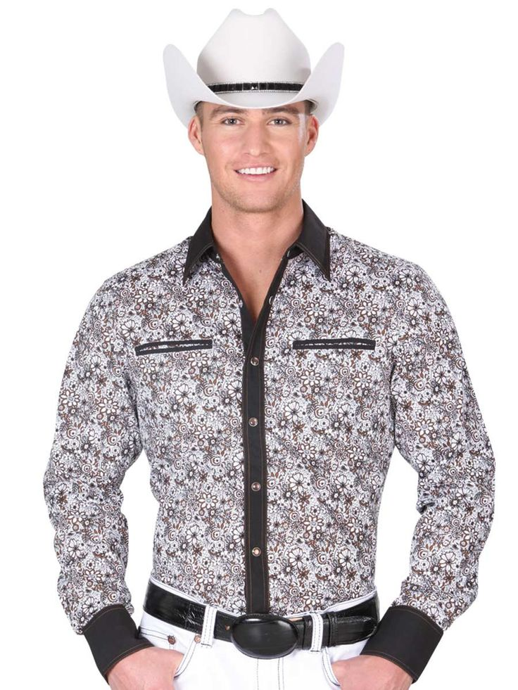 34233 Camisa Vaquera Manga Larga De Hombre 'El General', 100% Cotton - White