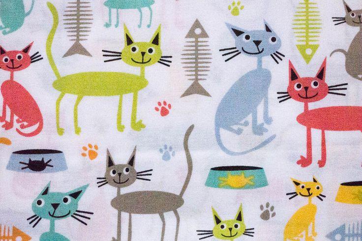 Stoff Katzen auf weiss | www.pom-pon.ch
