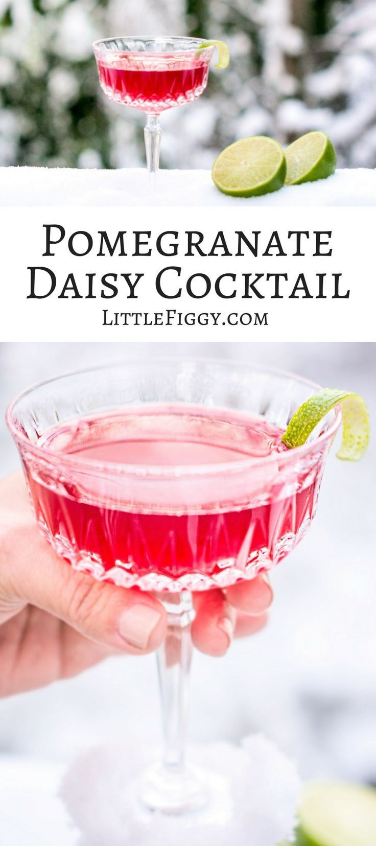 A gorgeous drink that's perfect for celebrating the holidays, the Pomegranate Daisy Cocktail! Get the recipe at Little Figgy Food! via @LittleFiggyFood