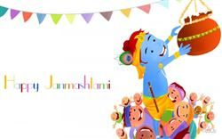 Happy Janmashtami Cartoon Wallpaper,Happy Janmashtami,Lord Krishna,Krishna Janmashtami,Janmashtami Greetings HD Wallpaper