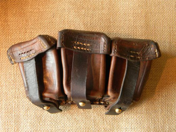 Vintage Leather Belt Pouch - 3 Compartments - Great for Steampunk Style Utility Belt -Vintage  Military Surplus