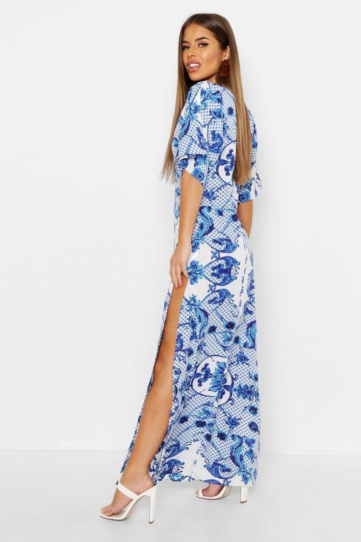 Womens Petite Plunge Kimono Ärmel gedruckt Maxi-Kleid blau 16