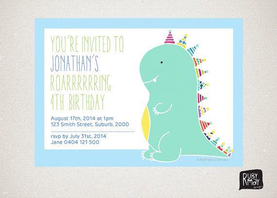 Green dinosaur birthday party invitation printable - digital file, we customise, you print - dinosaur theme children's party invitations