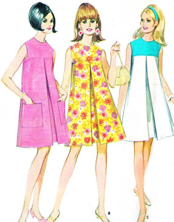 sesenta patrón M4769 8755 Mod tienda sin mangas vestido plisado Womens Vintage costura patrón busto 32 invertida