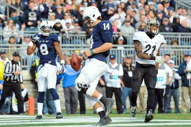 PENN STATE – FOOTBALL 2013 – The numbers were a lot better for Hackenberg against Purdue, completing 69% of his passes and just generally being efficient with the football. However, it was Purdue's defense, and Hackenberg wasn't really needed to be anything more than efficient. Penn State used the run game to perfection in the win, and even Hackenberg got into the act on the ground, rushing for a four-yard touchdown. It was 1 of 5 the Lions scored on the ground in the 45-21 win over Purdue.