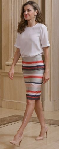 Queen Letizia of Spain attends an Audience to the students participating in the 12nd edition of the Program 'European Scholarships' of the University Francisco de Vitoria at Palacio de la Zarzuela on July 5, 2017 in Madrid