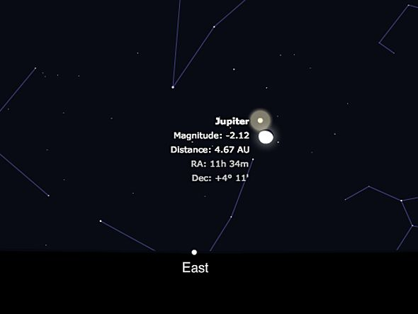 Jupiter, one of the brightest objects in the sky, rises alongside the moon tonight. Check out this impressive show and check the viewing conditions for your location. Also, read more about the planet and its role in the five visible morning planets.