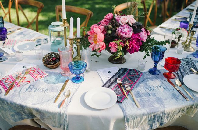 Customized Cloth Placematts double as place cards for all of the guests // Eclectic Garden Party Wedding: Erin + Greg