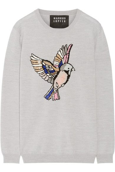 MARKUS LUPFER Natalie sequin-embellished merino wool sweater. #markuslupfer #cloth #knitwear