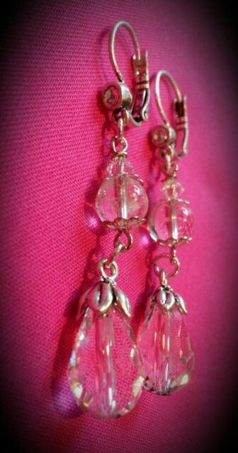 Earrings: Stone-crystals, Swarovsky Crystals and Silver. Made by me☆♡☆♡☆♡