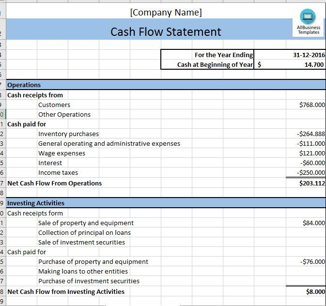 Cash Flow Statement - Cash Flow Excel Template templates - sample cash flow statement