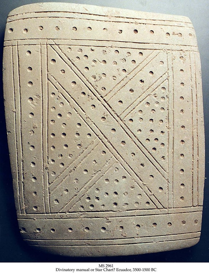 """The Valdivian or pre-Valdivian stone plaques or star charts (Ecuador 3500 - 1500 BC) are the earliest evidence of """"writing"""" from the Americas."""