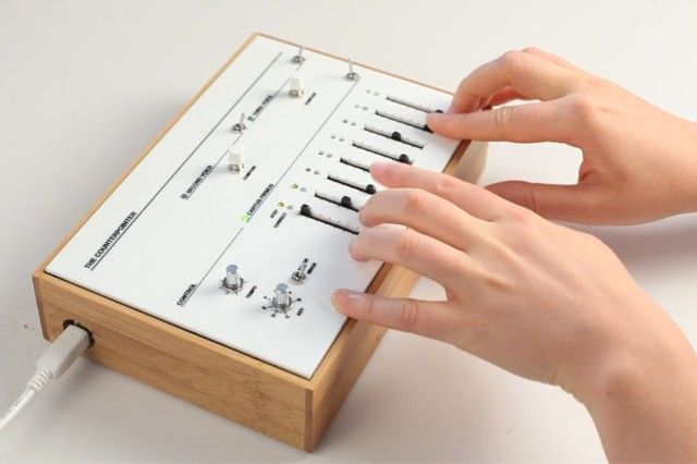 Created by Luisa Pereira, The Well–Sequenced Synthesizer is a series of sequencers — physical interfaces to play with musical rules. It consists of The Counterpointer, a cross between an electronic arpeggiator and a baroque music rule book, El Ordenador that carves chaos into order by applying constraints to randomly generated chord progressions and finally La Mecánica which uses a traditional music box mechanism to play back the progressions generated by El Ordenador.