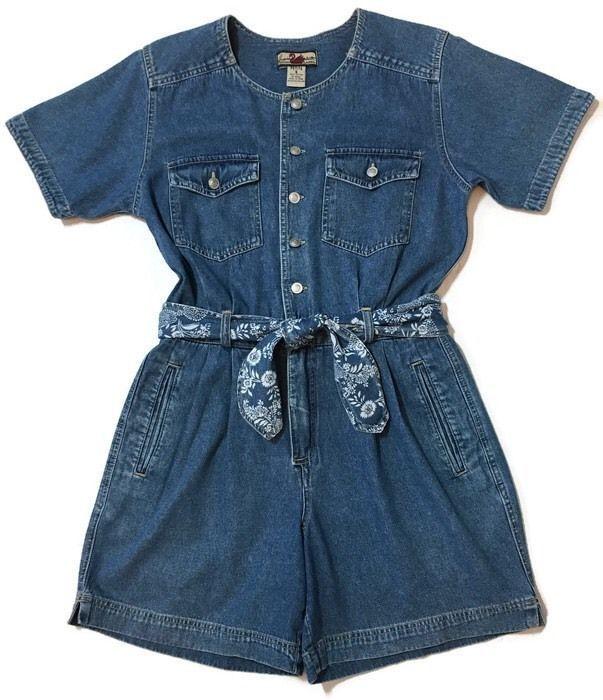 Vintage Gloria Vanderbilt Jean Romper Shorts Denim Boho Grunge Small Petite  | eBay