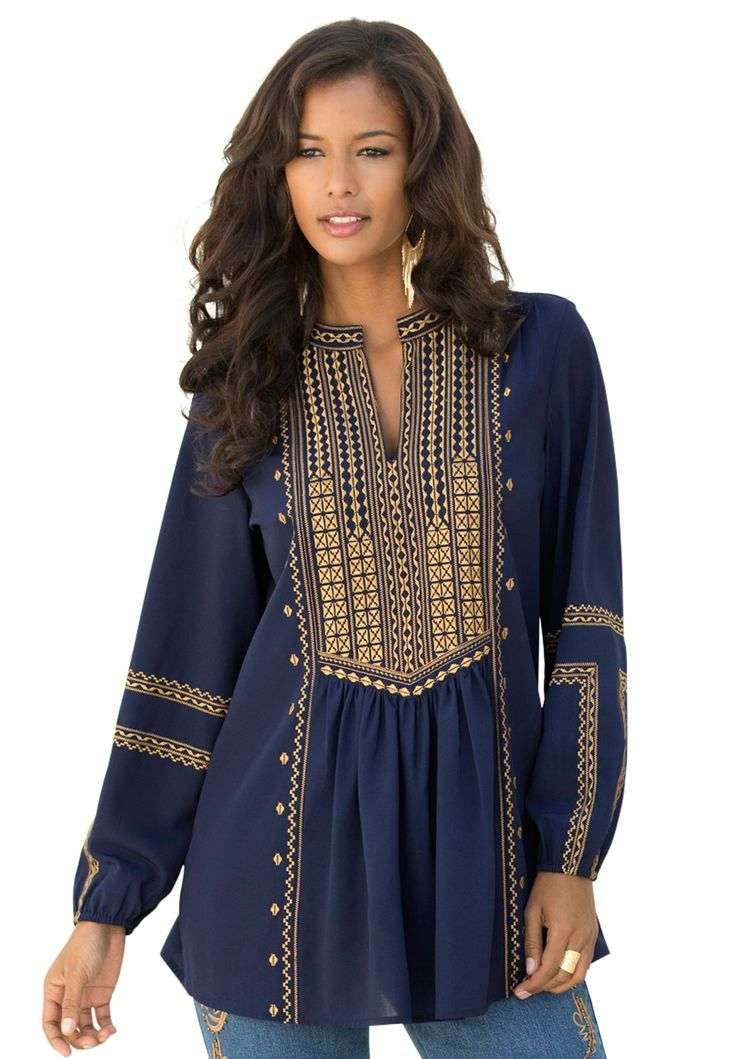 This ultra stylish embroidered boho plus size tunic by denim 24/7 is a perfect staple for the #fall season.