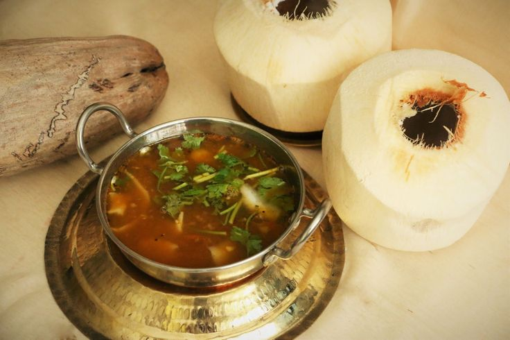 Have you tried tender coconut water rasam? Heres Elaneer rasam made combining tender coconut water and pulp with tangy tomato and tamarind and to enhance the taste it is tempered with mustard masalas and mint leaves. It has sweet spicy and tangy flavours that bring out delicious taste.  Recipe by Neeru. #NoOnionNoGarlicContest   http://ift.tt/2csYl5c #Vegetarian #Recipes