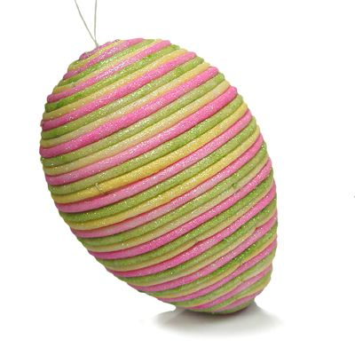 "8"" Glitter Tube Easter Egg Ornament Spring Green Yellow Pink"