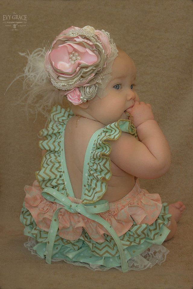 Baby Sunsuit Romper with Ruffles in mint/pink/gold/lace