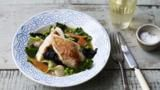 Poached chicken with carrots, kale and mushrooms