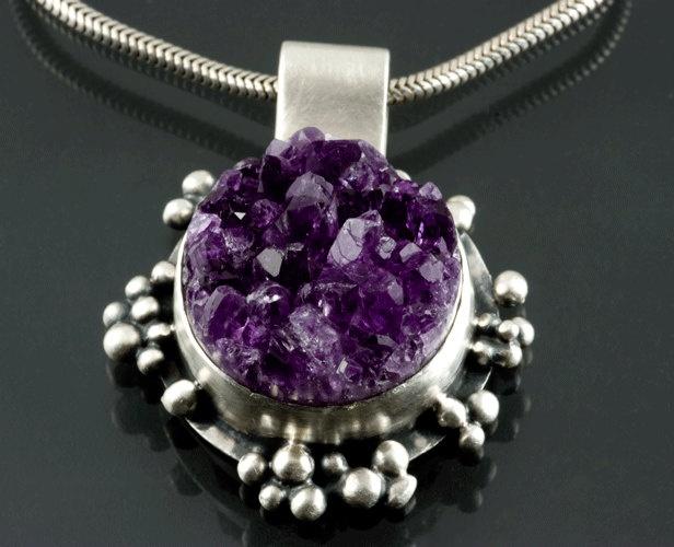 Silver Amethyst Geode Drusy Pendant: Geode Drusy, Drusy Pendants, Drusy Quartz