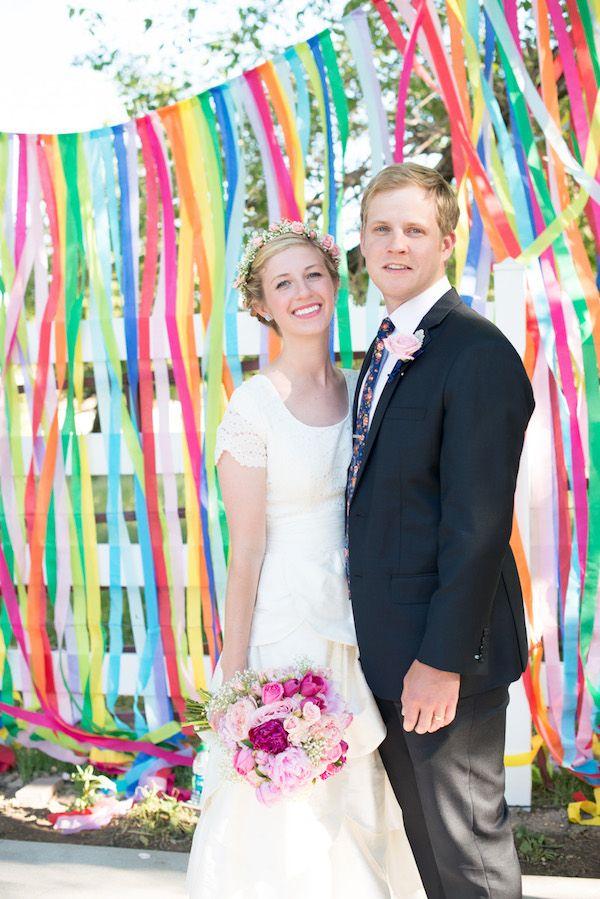 handmade rainbow wedding