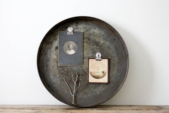 Love the Patina! Huge Vintage Industrial Cake Pan Repurposed Memo by PineandMain, $42.00