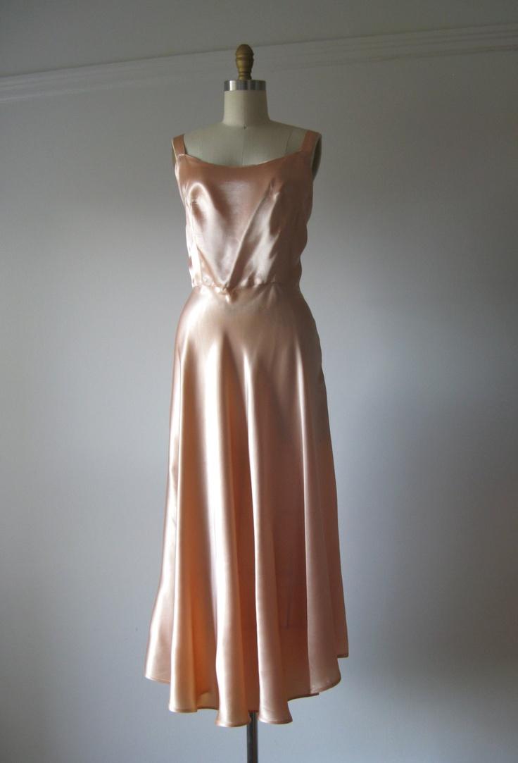 1940s Dress Silky Stars Vintage 40s Dress: Vintage 1940s Silk Gown / 40s Dress / Peachy Pink